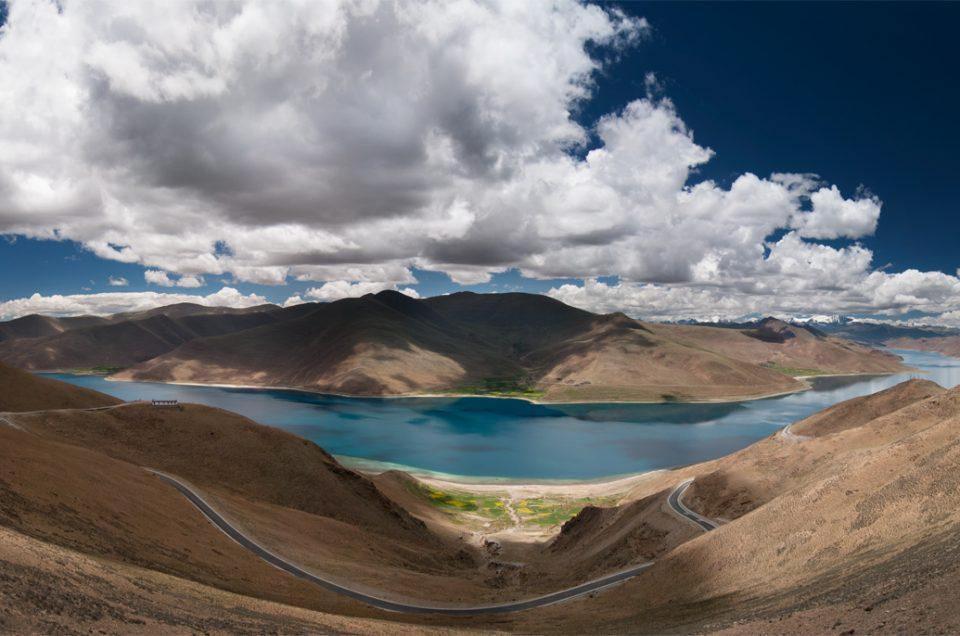 High above Yamdrok Lake