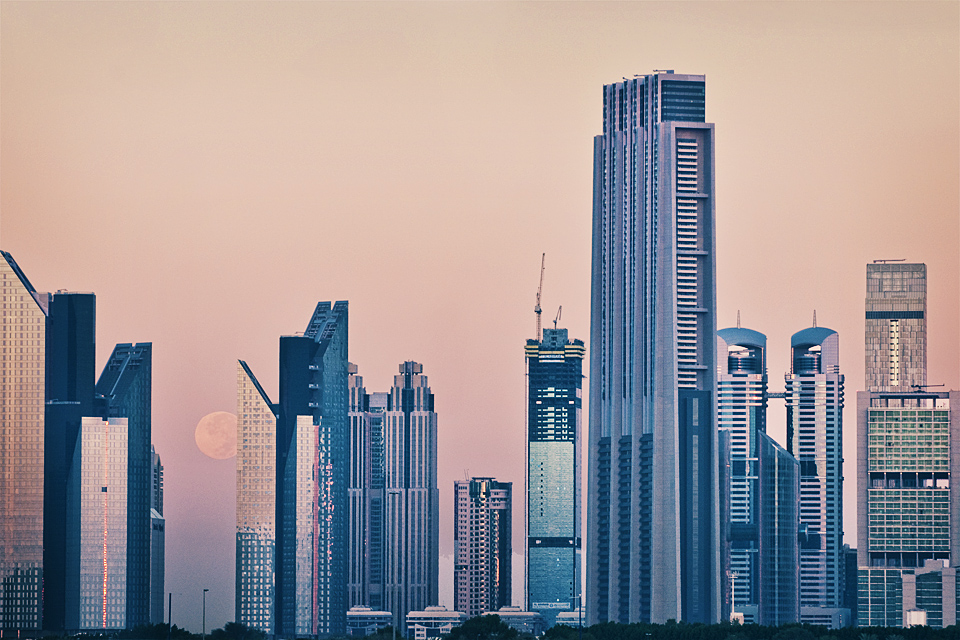 Full moon over Dubai