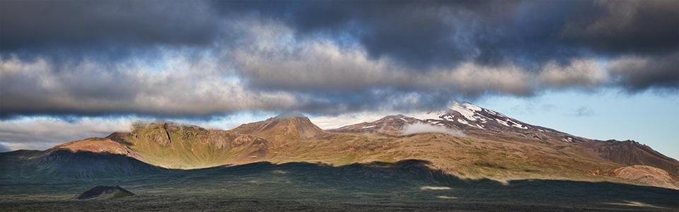 Sunlit mountain