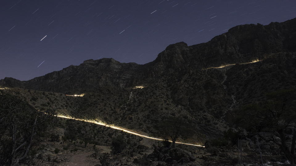 Light painting a mountain