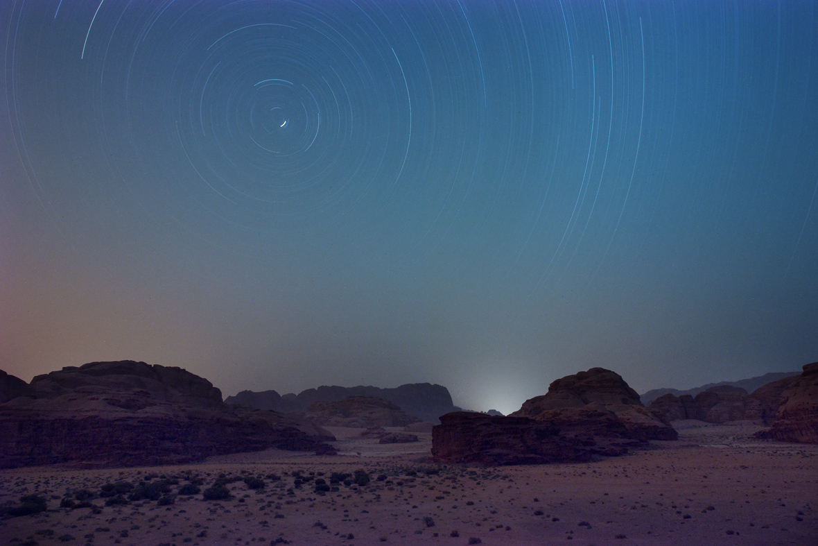 Star trails above Wadi Rum