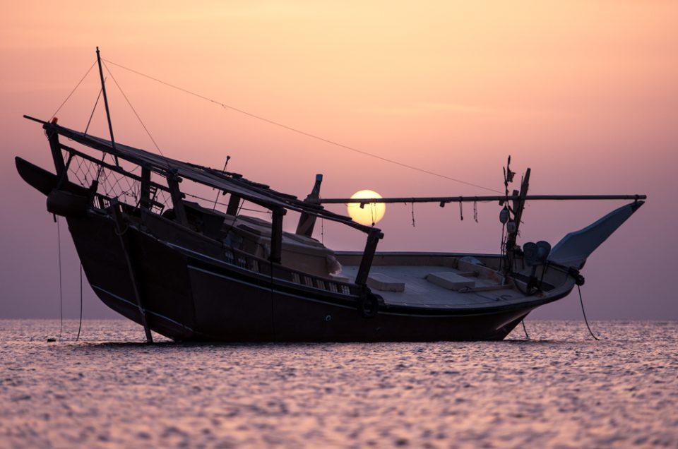 Setting sun in Masirah Island