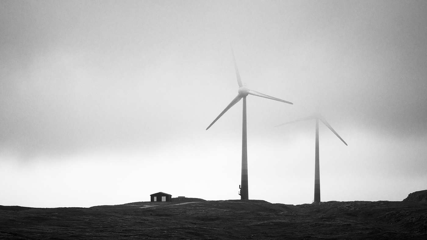 Foggy windmills