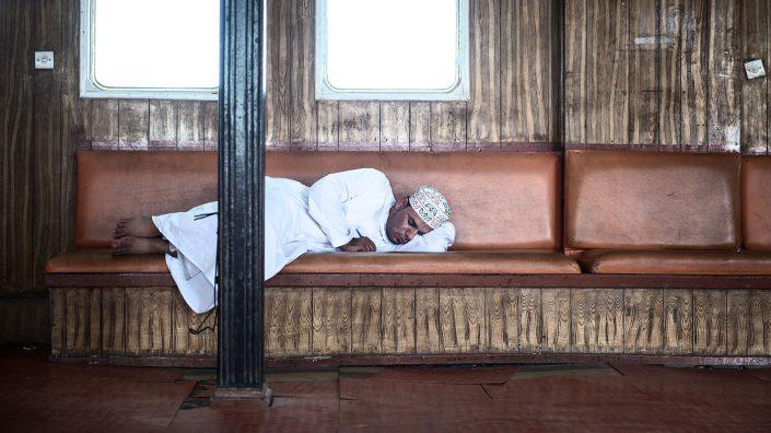 Sleeping on the ferry