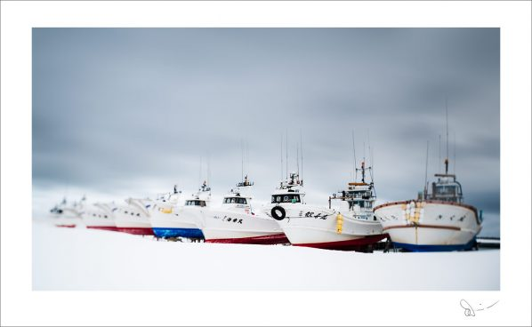 Japanese boats on snow #1