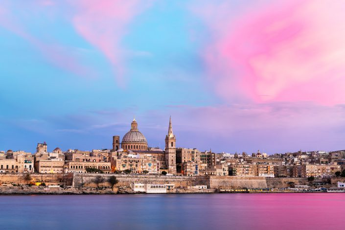 Pink skies above Valletta