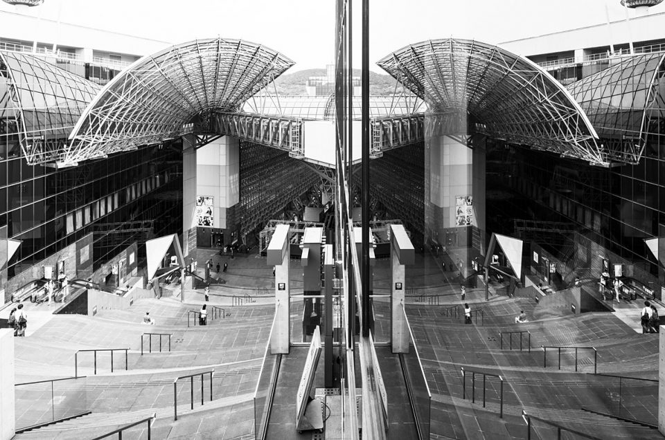 Kyoto Station reflected