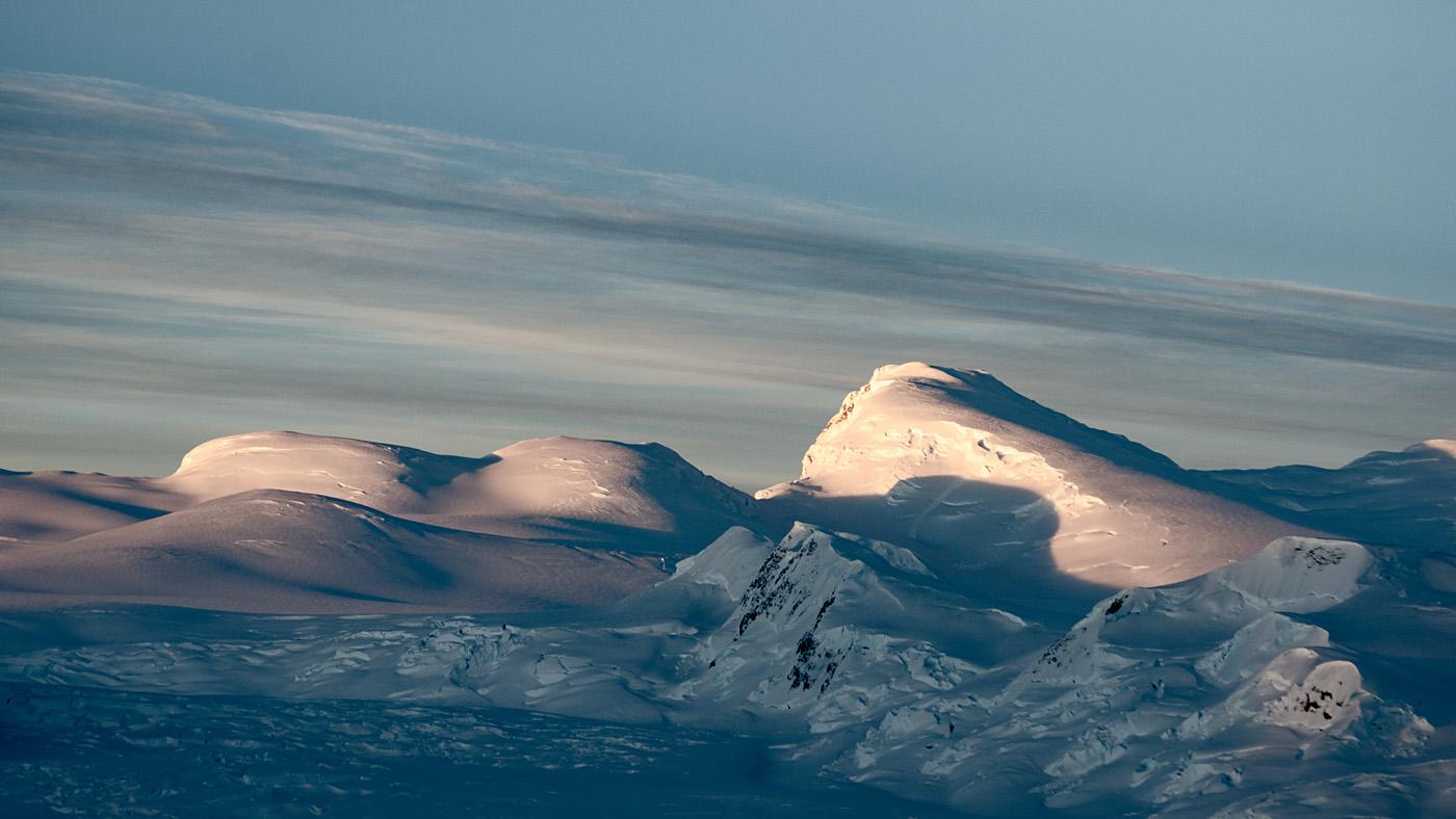 Rolling peaks of snow